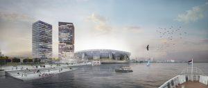 Het nieuwe Feyenoord stadion aan de Maas. Image courtesy OMA