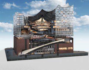 De grote zaal is het hart van het gebouw, links ervan het hotel en de kleine zaal, rechts ervan 45 appartementen.