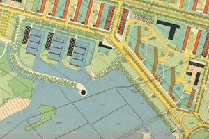 Tekening Cornelis van Eesteren 1939, hij tekende precies op de plek van het nieuwe gebouw al een paviljoen.
