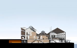 Doorsnede met links de ketelhallen met nieuwe kelder eronder en rechts de machinehal met restaurant en café aan het Bassin.