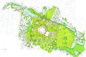 Landschappelijk herinrichtingsplan voor het gebied rond het Goetheanum, ontwerp Hyco Verhaagen