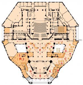 Herindeling begane grond, de expositieruimte (F) is niet uitgevoerd. E entreeportaal G garderobe B boekhandel R receptie C café F foyer met expositie.