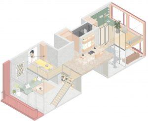 Loft van Marc Koehler in blok 1 in Houthavens, met de keuken op de verdieping, en daaraan de eethoek op de vloer die in de vide is opgehangen