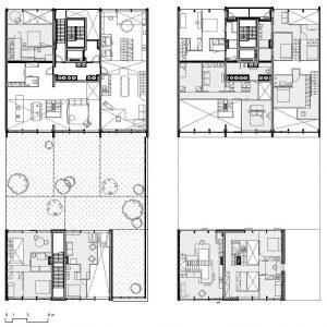 typische plattegrond van de lofts in Houthavens met vaste kern waaromheen appartementen in verschillende configuraties en met verschillende indelingen kunnen worden gemaakt