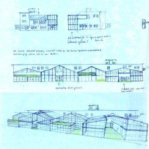 Conceptschetsen voor de transformatie van gebouw RF. Boven de toekomstige woning van Piet Hein Eek. Door de gevels te laten verspringen en veel glas toe te passen, ontstaan hier 9 unieke woningen.