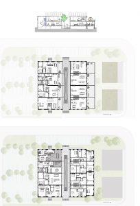 Plattegronden en doorsnede gebouw RAG. In twee woningen is een vide gemaakt die de kelderlaag deels bij de verdieping erboven betrekt.