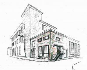 De transformatorruimte op de hoek van het RK gebouw wordt ontwikkeld tot een huisje voor een artist in residence, met drie lagen van 15 m2