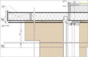 Detail gelamineerde kolom en ligger aansluiting gevel/dak