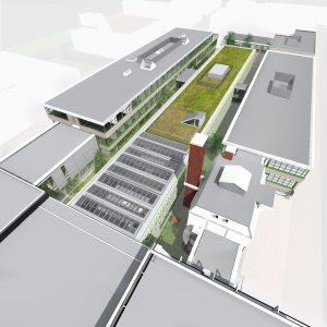 De uitbreiding is op het voormalige binnenplein van de bestaande school gebouwd, op deze plek waren oorspronkelijk ook praktijklokalen gedacht