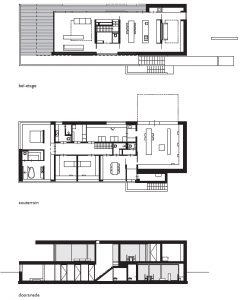 Plattegronden souterrain, bel-etage en doorsnede.