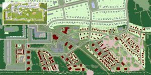 Stedenbouwkundig plan van de wijk met de nieuwe buurten die als scheggen in het gedeeltelijk nieuwe landschap steken. De aansluiting met het  omliggende natuurgebied is sterk verbeterd ten opzichte van de oude situatie (inzet) waar grote flats een barrière vormden tussen het binnen- en het buitenbos. Ruim de helft van de nieuwbouw is nu gerealiseerd