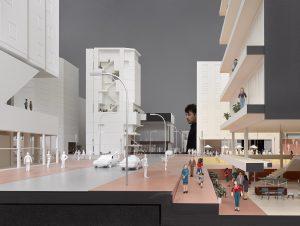 Grote maquettes van 21 collectieve projecten vormen een fictieve stad op de expositie. Foto Hannes Henz