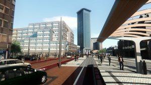 Collage Stationsplein centrumzijde. Links het grote belastingkantoor, midden Strijkijzer en Y-gebouw, recht station Hollands Spoor