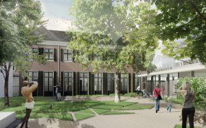 Impressie tuin met rechts het nieuwe paviljoen. Bierman Henket architecten.
