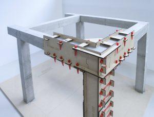 Een gestort betonnen prototype voor het afstudeerproject.