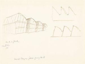 Schets van Rietveld voor het ontwerp van de westelijke gevelwand uit 1958 • Centraal Museum.