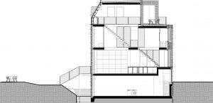 Het huis is 5,60 m breed, 11 meter diep en 13 meter hoog