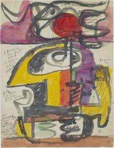 Le Corbusier, Étude Taureau/Stierschets, 1954, zwarte inkt en gekleurde inkt op papier, ongesigneerd, middenrechts gedateerd 31 augustus 54