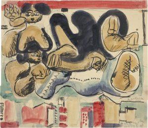 Le Corbusier, Deux femmes couchées avec silhouettes de maisons (Twee liggende vrouwen met silhouetten van huizen), 1934, grafietpotlood, zwarte inkt, aquarelverf op papiercollage op karton, rechtsonder gesigneerd en gedateerd Le Corbusier 1934.