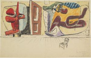 Le Corbusier, Composition avec sculpture, porte ouverte et deux femmes : projet pour peinture murale (Compositie met sculptuur, geopende deur en twee vrouwen : project voor muurschildering), 1942, grafietpotlood, inkt, pastel, waterverf op papiercollage op karton, rechtsonder gesigneerd en gedateerd Le Corbusier 42.