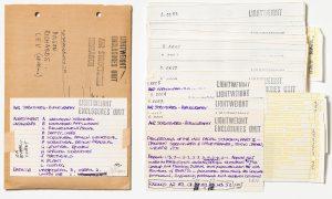 Gecodeerde indexkaarten van de 'Air Structures Bibliography' beoordelen elke publicatie op bruikbaarheid, 1972 © CCA / Lightweight Enclosures Unit, Cedric Price fonds