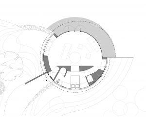 De ronde villa is gelijkvloers en heeft een open plattegrond