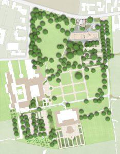 Plankaart Mecanoo van het landgoed St Gerlach met rechtsboven het nieuwe paviljoen