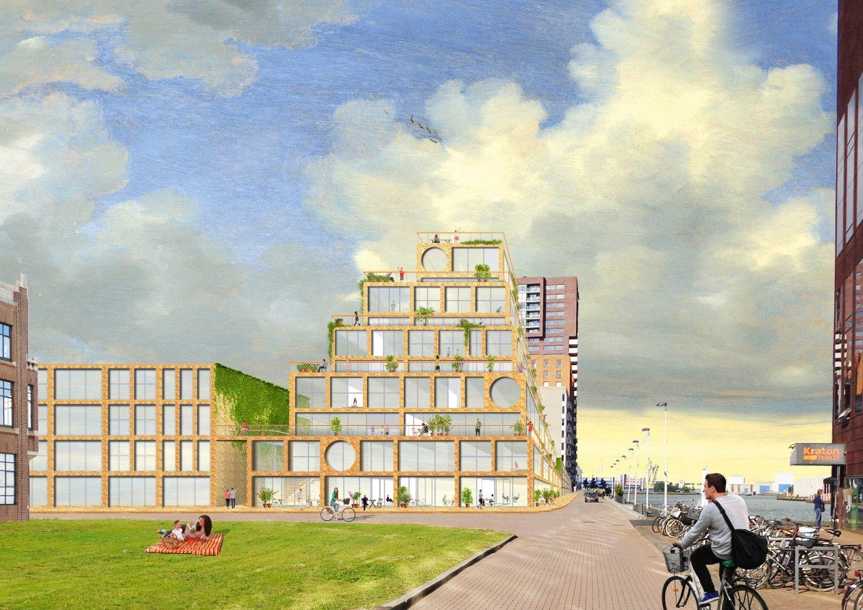 BABEL. Wooncomplex met 22 gezinswoningen, op de Lloydpier in Rotterdam. Als bij de Toren van Babel van Pieter Bruegel lopen brede straten buitenom langs de toren.