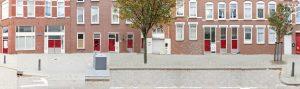 Bellevoystraat Rotterdam bestaande situatie met gesloten straatplint met opslag- en bedrijfsruimten.