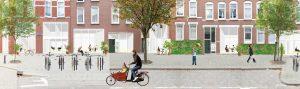 Bellevoystraat Rotterdam nieuwe situatie met woningen in straatplint. De gevel is opener gemaakt voor meer levendigheid en sociale controle.