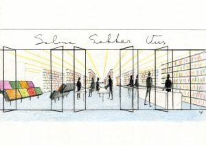 Salima. De kasten, tegelvloer en verlichting zijn diagonaal op de glazen voorgevel geplaatst. Hierdoor kunnen klanten de producten in de winkel zo veel mogelijk overzien.