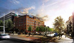 Zicht vanuit het noordoosten, met rechts de Nieuwe Achtergracht • Impressies ZJA Zwarts & Jansma Architecten.