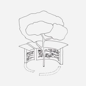 Schetsontwerp Paviljoen Daelwijck, met drie cirkelsegmenten rond een grote eik als levende as. Ingeborg Meulendijks