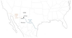 De grenssteden El Paso en Ciudad Juarez liggen op het overgangspunt tussen een kunstmatige grens en een natuurlijk ontstane grens