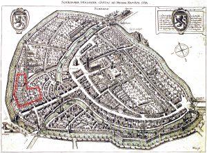 Stadsplattegrond Schiedam uit 1598