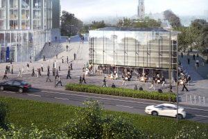 Bij station Utrecht is naast het duurzaam gerenoveerde Rijkskantoor De Knoop begonnen met de bouw van het circulaire  horecapaviljoen 'The  Green House', een ontwerp van Cepezed.