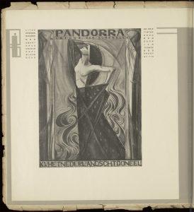 affiche, Pandorra, K.V. Het Nederlandse toneel, 1919. Vormgeving Jan Toorop