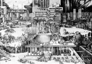 Geschiedenis van de utopische traditie, Carlijn Kingma i.s.m. Patrick Healy en Robert Nottrot, 2016, afmeting 1189mm x 841mm.