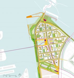 Sluisbuurt op Zeeburgereiland, Amsterdam. I.s.m. Burton Hamfelt Urban Architecture. Stedenbouwkundig plan volgens de principes van 'de bewegende stad' en 'Amsterdam rainproof'