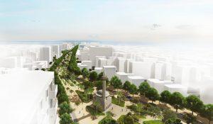 Stadsboulevard in Vlorë, de tweede stad van Albanië, BOOM i.s.m. Cityförster. Transformatie van een verkeersader tot een verblijfsplek. Bomen zorgen voor schaduw en belevingskwaliteit.