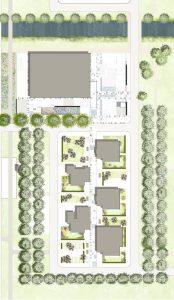 Inrichting van de openbare ruimte kerngebied van het dorp Nagele. Nieuwe boomstructuren, beplanting, bestrating en straatmeubilair voegen zich naadloos in het dorp.
