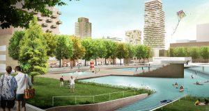 Sluisbuurt op Zeeburgereiland, Amsterdam. Fietsen, spelen, bewegen, vertraagde afvoer van regenwater staan centraal. Met een centraal gelegen waterbassin, drie parken en een grachtensysteem.