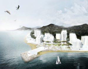 Waterfront Durrës, i.s.m. Cityförster, gerealiseerd in 2015. Een  nieuwe stedelijke kaap, met een plein en een park aan de Adriatische kust,  functioneert als stedelijk podium tussen twee baaien.