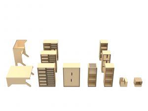 De multifunctionele meubellijn bestaat uit meerdere componenten