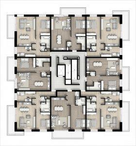 Een ruime centrale corridor waarin zich de lift en het trappenhuis bevinden, ontsluiten de woningen.