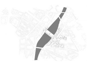 Plankaart stationsgebied Düsseldorf en omgeving, huidige situatie.