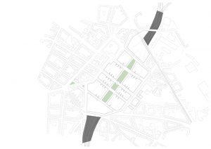 Plankaart stationsgebied Düsseldorf en omgeving, nieuwe situatie. De sporen worden verdeeld in twee zones met daartussen een nieuw plein.