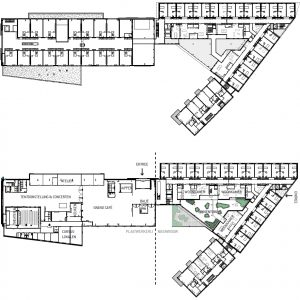 Plattegrond begane grond en verdieping.