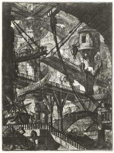 Giovanni Battista Piranesi, De Ophaalbrug (plaat VII uit de Carceri d'invenzione, Rome 1761) collectie Museum Boijmans van Beuningen, Rotterdam