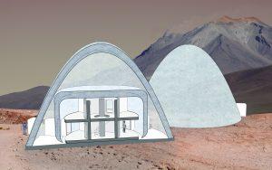 3D doorsnede van de Ice Hab waarbij de twee verschillende ijswanden en de oorspronkelijke capsule zichtbaar zijn.
